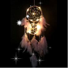 LS005-2 Подвеска ловец снов с подсветкой, 580х11см, нежно-розовая