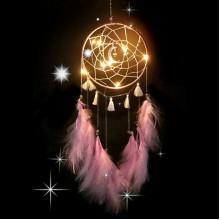 LS006-1 Подвеска ловец снов с подсветкой, 550х155мм, розовая