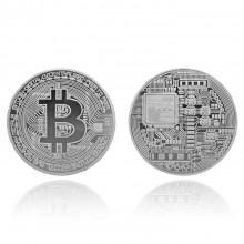 MN003-S Сувенирная монета Биткойн, d.4см, цвет серебряный
