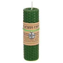 MSV064 Зелёная магическая свеча с талисманом Мешок (деньги), воск, 10х3,2см