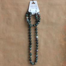 NJ010-01 Набор Бусы, браслет, серьги из натурального камня Яшма 8мм
