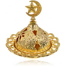 PBK052 Подставка для благовоний Звезда и полумесяц, d.7см, цвет золотой