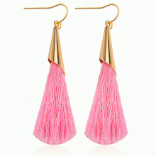 SE048-5 Серьги - кисточки Конус 75мм, цвет розовый