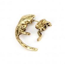SE084 Серьга - каффа Кошка с длинным хвостом (1 шт.) 3см, цвет бронз.