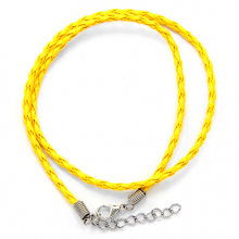 SH003Y Кожаный плетёный шнурок с застёжкой, цвет жёлтый