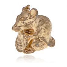 SR-K-30073 Кошельковый сувенир Мышка с монетой, цвет золотой