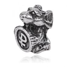 SR-K-30075 Кошельковый сувенир Мышка с рублём, цвет серебряный