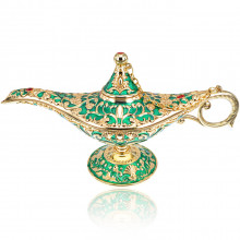 ST003-5 Сувенир Лампа Аладдина, 21х7х11см, цвет зелёно-золотой