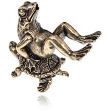 ST005 Фигурка Лягушка на черепахе, 3,5х3х1,5см
