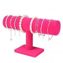 STN001-1 Дисплей для браслетов 24х14см, d.5см, розовый бархат