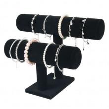 STN003-2 Дисплей для браслетов двухярусный 26х18см, d.5см, чёрный бархат