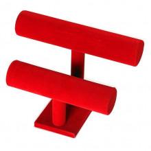 STN003-3 Дисплей для браслетов двухярусный 26х18см, d.5см, красный бархат