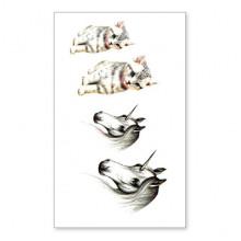 TTSY-A121 Временная татуировка Котёнок и Единорог, 60х105мм