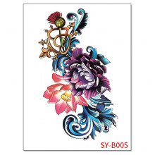 TTSY-B005 Временная татуировка Пион, 21х15см