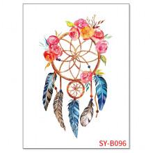 TTSY-B096 Временная татуировка Ловец снов с цветами, 21х15см
