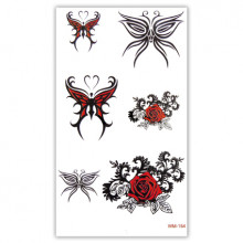 TTWM-154 Временная татуировка Бабочки, розы 6х10,5см