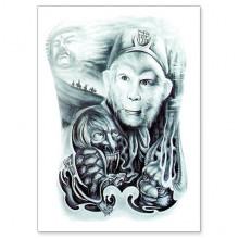 TTWX-008 Временная татуировка Хануман, 150х210мм