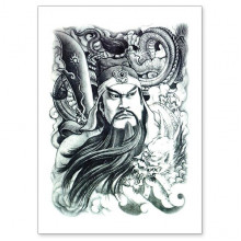 TTWX-011 Временная татуировка Гуань Гун, 150х210мм