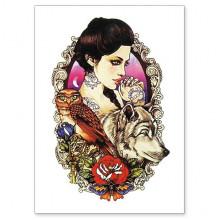 TTWX-014 Временная татуировка Девушка, Сова и Волк, 150х210мм