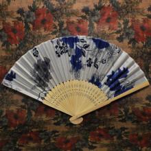 VR003-05 Веер Цветы, дерево+ткань, 20,5x37,5см, цвет голубой