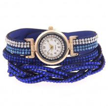WA058-BL Часы - браслет со стразами, цвет синий