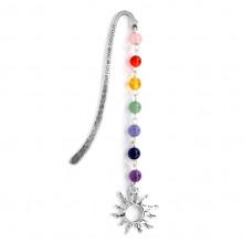 ZK002-3 Закладка для книг Солнце с натуральными камнями по цветам чакр 10,8см