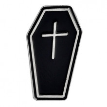 ZN024 Значок Гроб с крестом, металл, эмаль 33х18мм