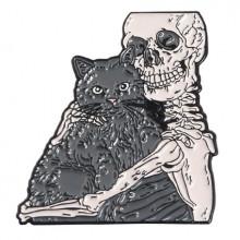 ZN040 Значок Скелет и кот, металл, эмаль 30х25мм