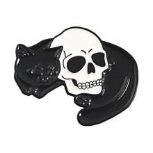 ZN061 Значок Кот и череп, 25х30мм