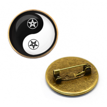 ZNA001 Значок Пентаграмма Инь-Ян, d.27мм, цвет бронз.