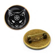ZNA002 Значок Кот с пентаграммой, d.27мм, цвет бронз.
