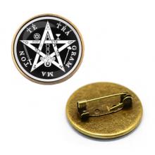 ZNA012 Значок Тетраграмматон, d.27мм, цвет бронз.