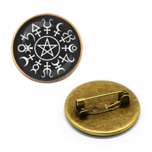 ZNA013 Значок Планетарная пентаграмма, d.27мм, цвет бронз.