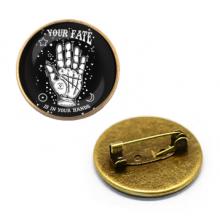 ZNA017 Значок Рука Судьбы, d.27мм, цвет бронз.
