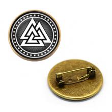 ZNA023 Значок Валькнут, d.27мм, цвет бронз.