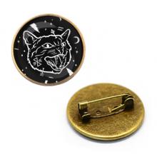 ZNA029 Значок Чёрный кот, d.27мм, цвет бронз.