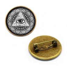 ZNA036 Значок Всевидящее око, d.27мм, цвет бронз.
